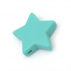 Мънисто силикон звезда 14x13x8 мм дупка 2.5 мм цвят тюркоаз - 2 броя