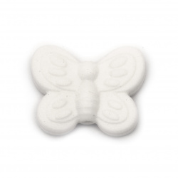 Мънисто силикон пеперуда 20x25x6 мм дупка 2.5 мм цвят бял - 2 броя