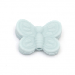 Мънисто силикон пеперуда 20x25x6 мм дупка 2.5 мм цвят син - 2 броя