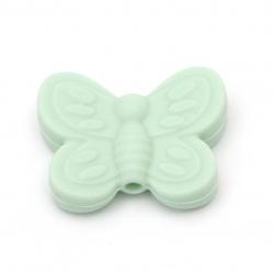Мънисто силикон пеперуда 20x25x6 мм дупка 2.5 мм цвят зелен - 2 броя