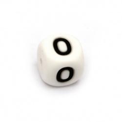 Мънисто силикон кубче 12x12 мм дупка 2.5 мм цвят бял цифра 0