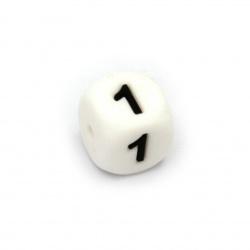 Мънисто силикон кубче 12x12 мм дупка 2.5 мм цвят бял цифра 1