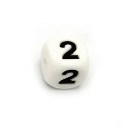 Мънисто силикон кубче 12x12 мм дупка 2.5 мм цвят бял цифра 2