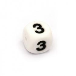 Мънисто силикон кубче 12x12 мм дупка 2.5 мм цвят бял цифра 3