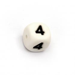 Мънисто силикон кубче 12x12 мм дупка 2.5 мм цвят бял цифра 4