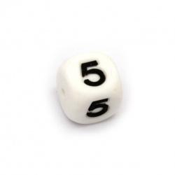 Мънисто силикон кубче 12x12 мм дупка 2.5 мм цвят бял цифра 5
