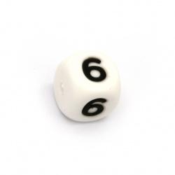 Мънисто силикон кубче 12x12 мм дупка 2.5 мм цвят бял цифра 6