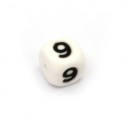 Мънисто силикон кубче 12x12 мм дупка 2.5 мм цвят бял цифра 9