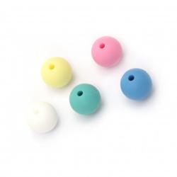 Мънисто силикон топче 12 мм дупка 2 мм цвят микс - 5 броя