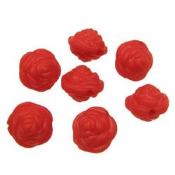 Floare strâns mată gaură de 11x5 mm 1,5 mm roșu -50 grame ~ 140 bucăți