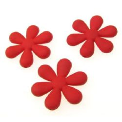 Acrylic flower bead for jewelry making 34x31x5.5 mm hole 1 mm pastel red - 20 grams ~ 7 pieces