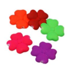Λουλούδι παστέλ 27x27x6 mm τρύπα 1 mm ηλεκτρικ χρώμα μιξ -8 τεμάχια ~ 20 γραμμάρια