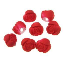 Мънисто пастел роза 10х9.5 мм дупка 2 мм цвят червен -20 грама ~35 броя