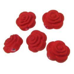 Мънисто пастел роза 16х11 мм дупка 2 мм цвят червен -20 грама ~15 броя