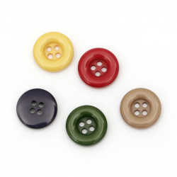 Plastic round button for sewing, scrapbooking, DIY home decoration accessories 18x4 mm hole 2 mm MIX - 5 pieces