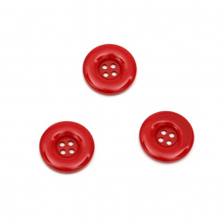 Plastic round button for sewing, scrapbooking, DIY home decoration accessories 25x4.5 mm hole 2.5 mm red - 5 pieces