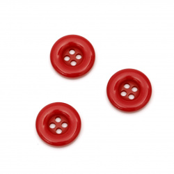 Plastic round button for sewing, scrapbooking, DIY home decoration accessories 18x4 mm hole 2 mm red - 5 pieces
