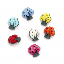 Plastic tree button for sewing 17x17.5x4 mm hole 2.5x4 mm mix - 20 pieces