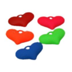 Acrylic heart bead for jewelry making 36.5x25x11 mm hole 2 mm pastel electric color - 5 pieces ± 25 grams