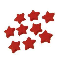 Мънисто плътно звезда матирано 9x3 мм дупка 1 мм червено - 50 грама ~385 броя