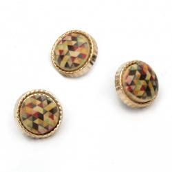 Πλαστικό κουμπί 12x9 mm πολύχρωμο με χρυσό   -10 τεμάχια