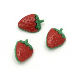 Копче пластмаса ягода 13x18x7.5 мм дупка 3 мм цвят червен и зелен -10 броя