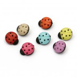 Πλαστικό κουμπί πασχαλίτσα 15x13x4 mm τρύπα 4 mm χρώμα μίξ  και μαύρο -20 τεμάχια