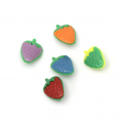 Plastic strawberry button for sewing 13x18x7.5 mm hole 3 mm mix - 10 pieces