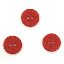 Plastic round button for sewing, scrapbooking, DIY home decoration accessories 14x2 mm hole 2 mm red with flower - 20 pieces