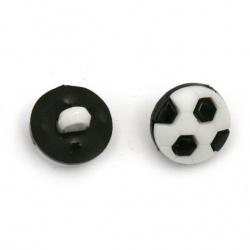 Копче пластмаса топка 13x4 мм дупка 4 мм цвят бяло и черно -20 броя