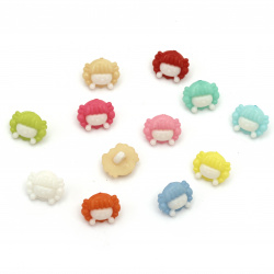 Plastic button for sewing 12x15x4 mm hole 3 mm color mix - 20 pieces