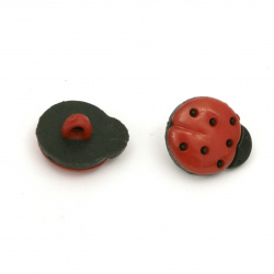 Plastic ladybug button 15x13x4 mm hole 4 mm red and black -20 pieces