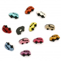 Plastic car button for sewing 17x11x4 mm hole 3 mm mixed color  - 20 pieces