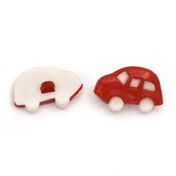 Plastic car button for sewing 16x25x6 mm hole 3 mm color white and red - 10 pieces