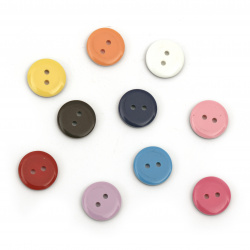 Plastic round button for sewing, scrapbooking, DIY home decoration accessories15x3 mm hole 2 mm mix - 10 pieces