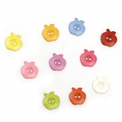 Plastic apple button for sewing, scrapbooking, DIY home decoration accessories 14x13x2 mm hole 2 mm mix - 20 pieces