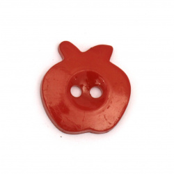 Plastic apple button for sewing, scrapbooking, DIY home decoration accessories 14x13x2 mm hole 2 mm color red - 20 pieces