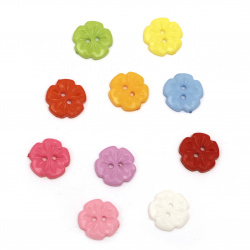 Plastic flower button for sewing, scrapbooking, DIY home decoration accessories 15x2.5 mm hole 2 mm mix - 20 pieces