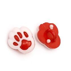 Κουμπί πλαστικό πατούσα 14x12x4 mm τρύπα 4 mm λευκό και κόκκινο -20 τεμάχια