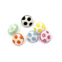 Копче пластмаса топка 13x4 мм дупка 4 мм МИКС -20 броя