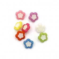 Копче пластмаса цвете 14x14x4 мм дупка 4 мм МИКС -20 броя