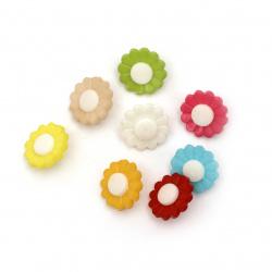 Копче пластмаса цвете 15x4 мм дупка 4 мм МИКС -20 броя