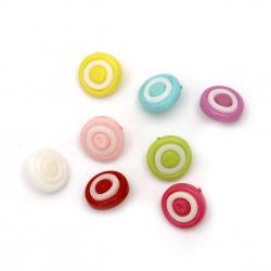 Κουμπί πλαστικό στρόγγυλο 14x4 mm τρύπα 4 mm MIX -20 τεμάχια