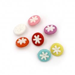 Κουμπί πλαστικό λουλούδι 14x14x4 mm τρύπα 4 mm MIX -20 τεμάχια