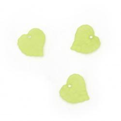 Висулка плътна листо матирана 15x15x2 мм дупка 1.5 мм цвят зелен -20 грама ~75 броя