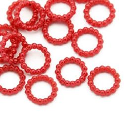 Pearl Connecting element  10x2 mm circle red -50 pieces