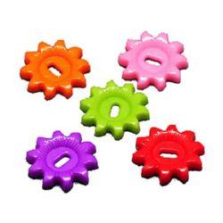 Κουμπί πλαστικό γυαλιστερό 23x23x3,5 mm τρύπα 2,5x6 mm MIX -23,5 γραμμάρια ~ 20 τεμάχια