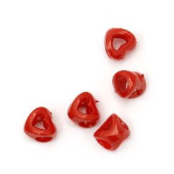 Inimă solida 9.8x10x8 mm gaură 5 mm roșu -50 grame ~ 180 bucăți