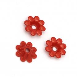 Цвете плътно 23x6 мм дупка 5 мм червено -50 грама ±75 броя