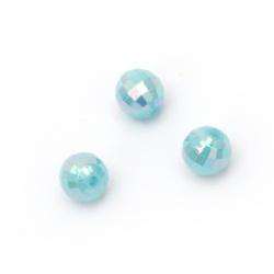 Мънисто плътно топче 8 мм дупка 2 мм фасетирано дъга цвят син -50 грама ~200 броя